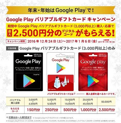 googleplay ギフトコード キャンペーン